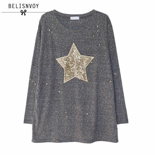 9310d9518dc1 2018 Spring Fashion T Shirt Women Five-pointed Star Sequined Long Sleeve  Casual T-