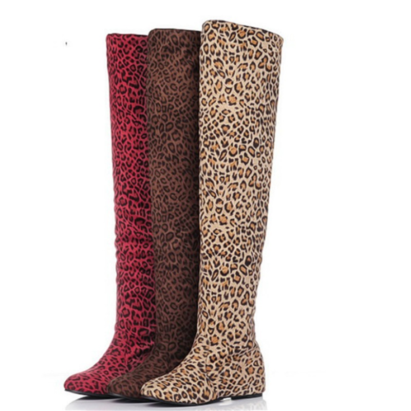 Compare Prices on Leopard Print Thigh High Boots- Online Shopping ...