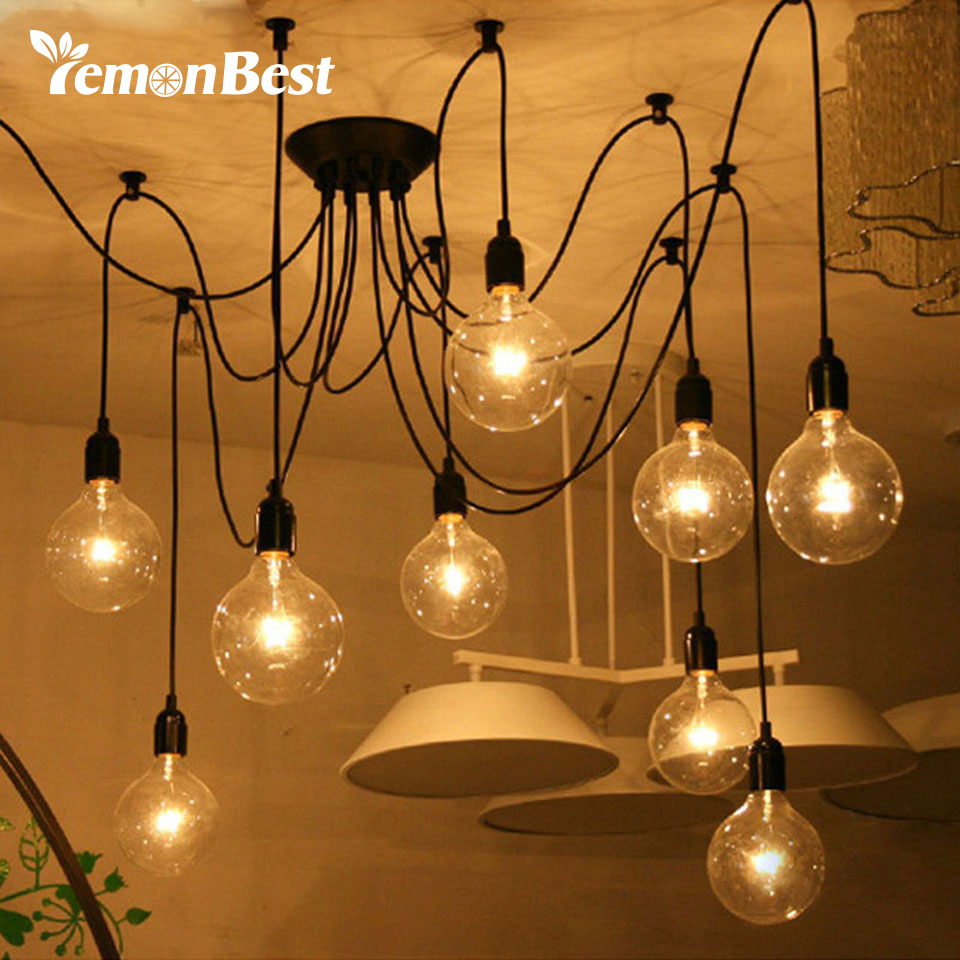 Lemonbest edison lights industrial style home lighting vintage loft chandelier lighting fixtures diy lamps with 8 heads
