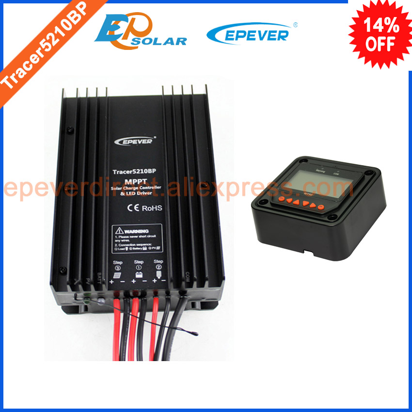 New MPPT series Tracer5210BP solar battery charge regulator with black MT50 remote meter EPEVER free shipping tracer mppt 30a solar charge controller lcd12 24v solar panel solar regulator epsolar gel battery option with remote meter mt50