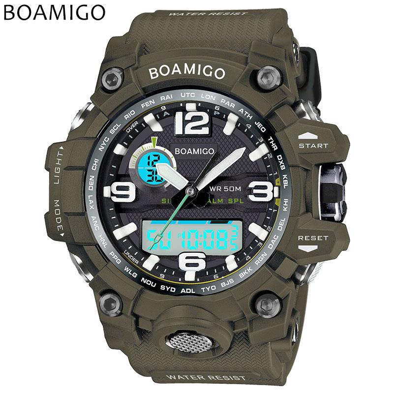 BOAMIGO marca degli uomini di sport orologi doppio display analogico digitale LED Elettronico orologi al quarzo 50 m impermeabile orologio nuoto F5100