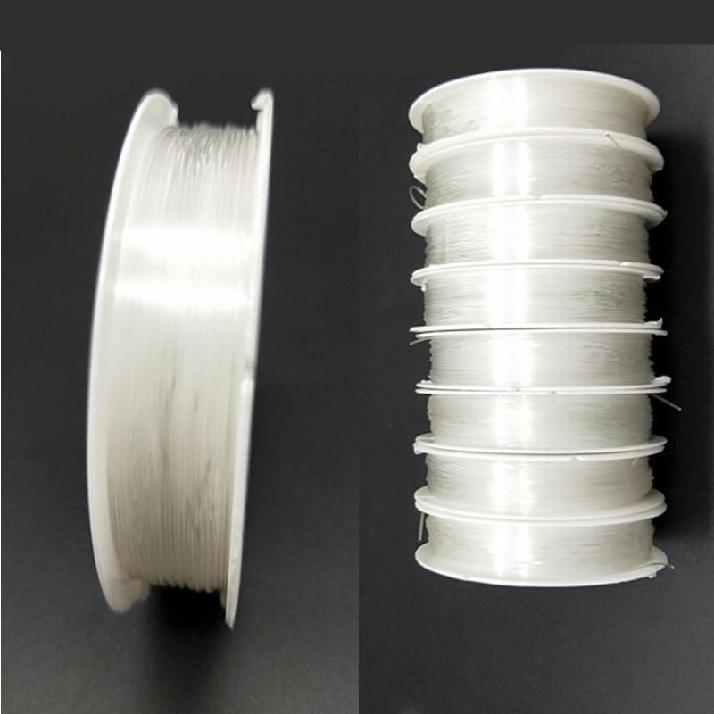 DIY 0,5-1,0 мм 1 рулон дешевые ювелирные изделия качество сильный эластичный канат прозрачный Струнные Бусы шнура Бисер браслет Цепочки и ожерелья