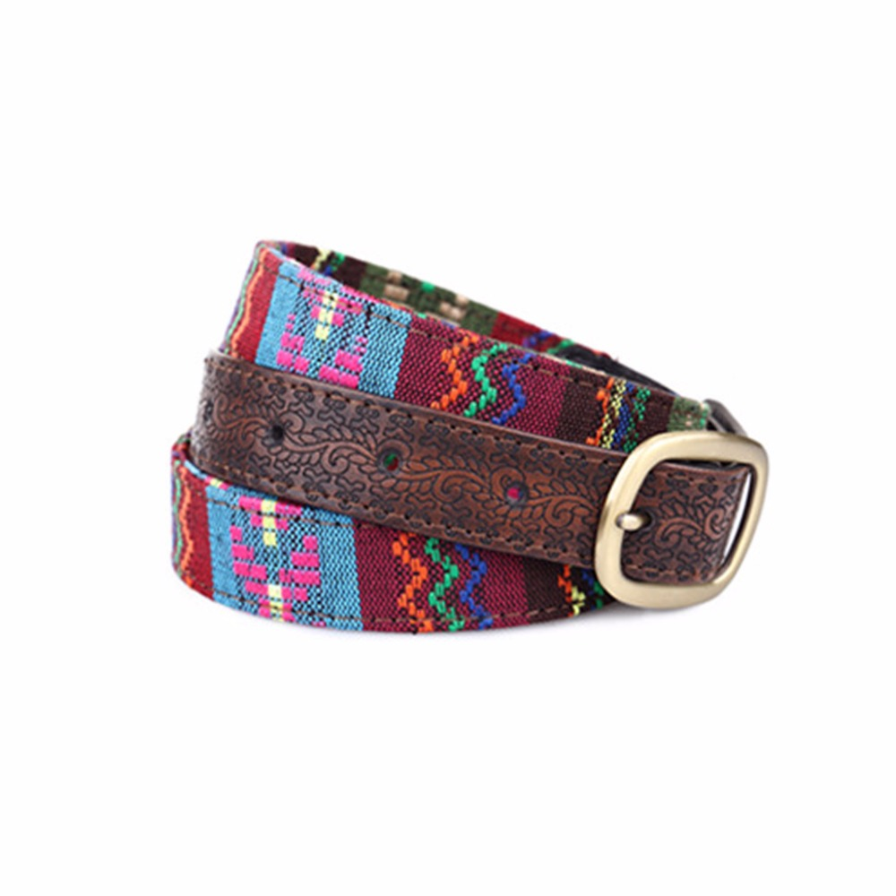Fashion National Girls   Belts   Embroidered Fabric Drawing Waistband Women Girdle   Belt   Carved