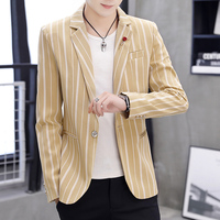 Men Khaki Blazer Jacket Long sleeved Coats Size 3XL Fashion Mens Leisure Suit Jackets Slim Stripe Coat Man