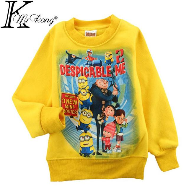2015 Catoon yellow minion costume children roupa infantil kids girl boy despicable me sweatshirt clothing brand Tee sweater