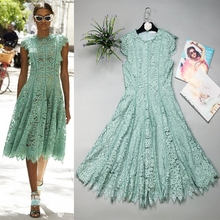High Quality 2018 Summer Brand Runway New Fashion Solid Color Lace Hollow Sleeveless Leisure Holiday Women's Dress Free Shipping