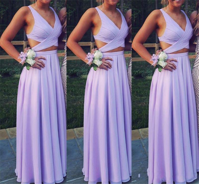 2019 robes de demoiselle d'honneur lavande lilas une ligne col en V coupé côtés Simple mariage invité robe plage Boho Style pas cher