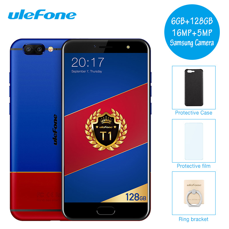 Ulefone T1 Premium Edition Mobile Phone Android 7.0 Octa Core 6GB RAM 128GB ROM 16MP Dual Cameras Fingerprint Global Version