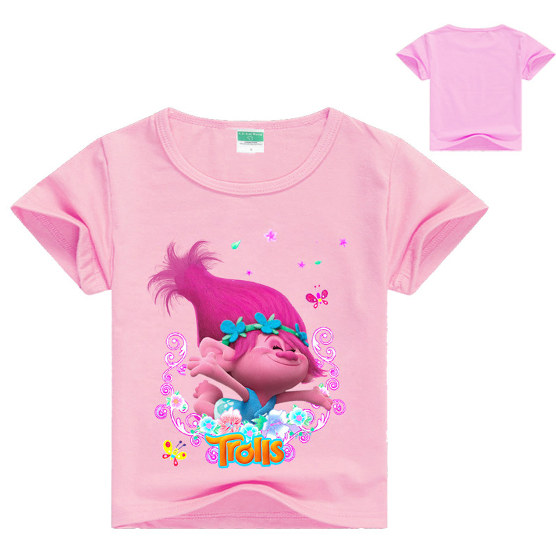 Cartoon Print Children Cosplay T-Shirts Girls Trolls poppy Costume Baby Girl Summer T shirts For Girls Tees Tops Kids clothes