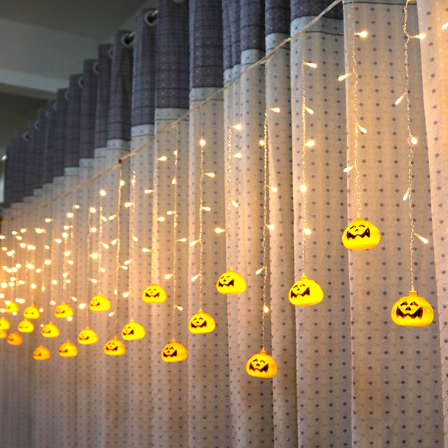 96pcs LED Strip Pumpkin Fairy Lights LED Curtain String Lights Tree Hanging  Decor For Halloween Bars