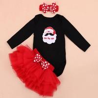 3PCs per Set Black Long Sleeves Baby Girl Santa Ho Ho Christmas Outfit Heaband Bubble Skirt for 0 24Months