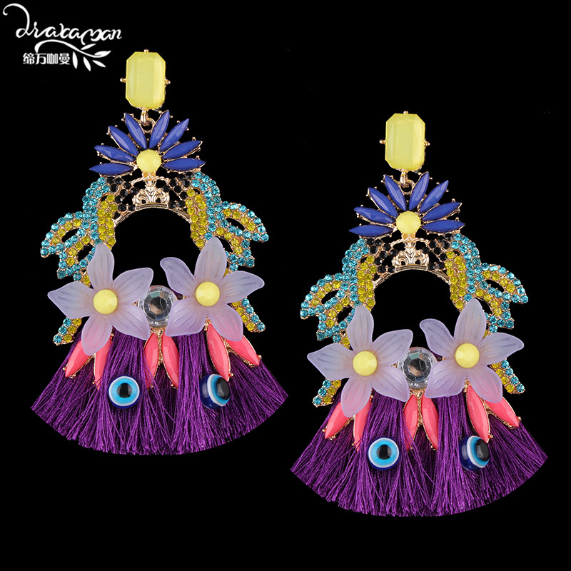 Dvacaman Large Tel Earrings Ethnic Flower Drop Women Indian Bridal Crystal Statement Handmade Jewelry Ag69