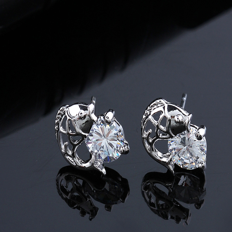 SUPIN Fine AAA Zircon Fish Design Jewelry High Quality Ear Ring Gold Stud Earrings For Women And Girls clear