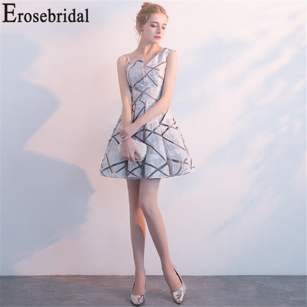 Erosebridal Short Prom Dress 2019 Red Grey Formal Women Party Wear Ultra Soft Fabric Unique Neck Design