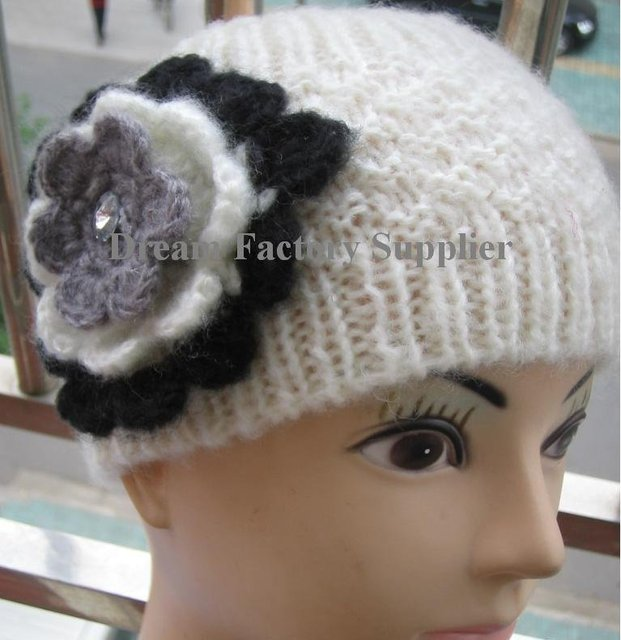 Free Shipping New Style Handmade Crochet Headwrap Headband Ear Warmer with Hand Crochet Flowers & Shining Beads