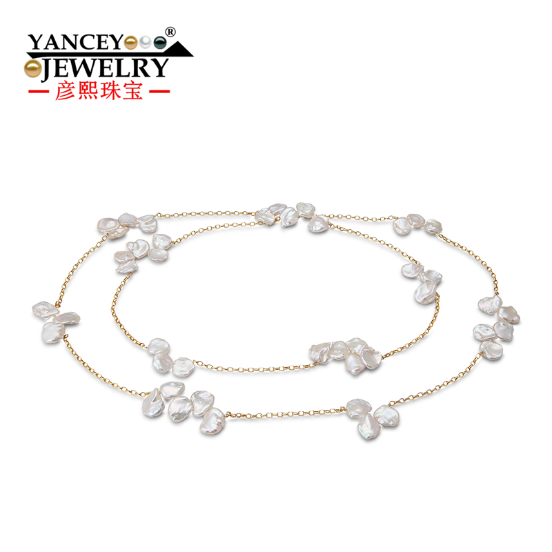 YANCEY New Fashions Strong Gloss Flawless Freshwater Baroque pearl 9k and G18k gold chain 90CM Long necklace, BohemiaYANCEY New Fashions Strong Gloss Flawless Freshwater Baroque pearl 9k and G18k gold chain 90CM Long necklace, Bohemia