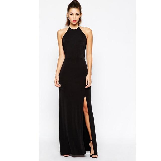 2a79a565a66 2015 New Fashion Black Maxi Long Dress Cut Out Split Side Halter Bandage Dress  Sexy Club Wear Party Dresses Vestido Longo P8254