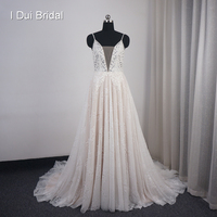 Spaghetti Strap Wedding Dresses A line Lace Appliqued Beaded Bare Back High Quality Bridal Gown