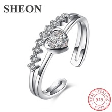 SHEON Genuine 100% 925 Sterling Silver Love Heart Dazzling CZ Adjustable Finger Ring for Women Wedding Jewelry Gift For Mother sheon 100