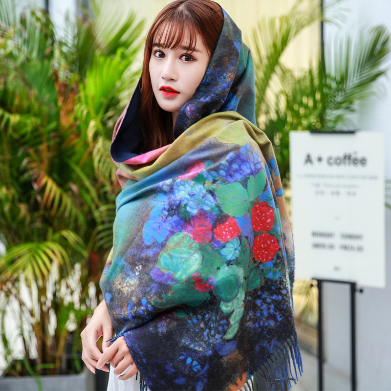 70x200cm Fashion Women Scarves Cashmere Scarf Retro Warm Flower Print Shawl Scarf