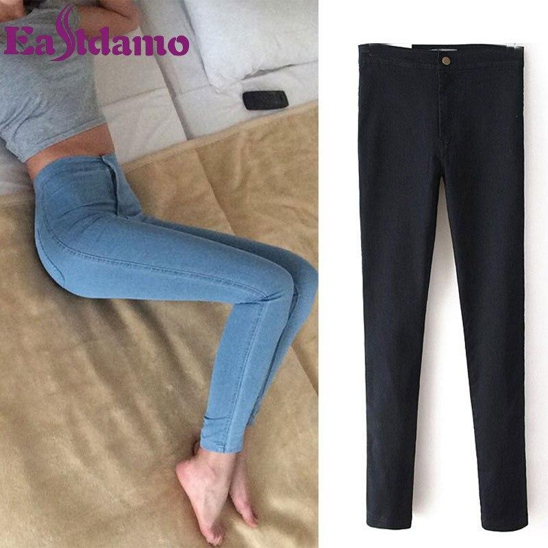 Eastdamo Slim Jeans For Women Skinny High Waist Jeans Woman Blue Denim Pencil Pants Stretch Waist Women Jeans Pants Plus Size