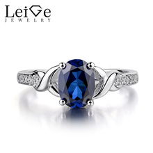 Leige Jewelry Blue Sapphie Engagement Rings Oval Shaped Blue Gemstone Jewelry Sterling Silver 925 Wedding Rings for Women