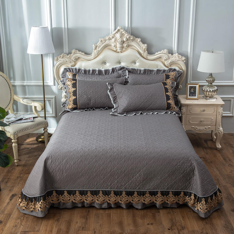 Lace Edge Solid Color Bedspread King Queen Size Cotton Quilted Bed Cover Bed Spread Set Mattress Cover Blanket Pillowcase