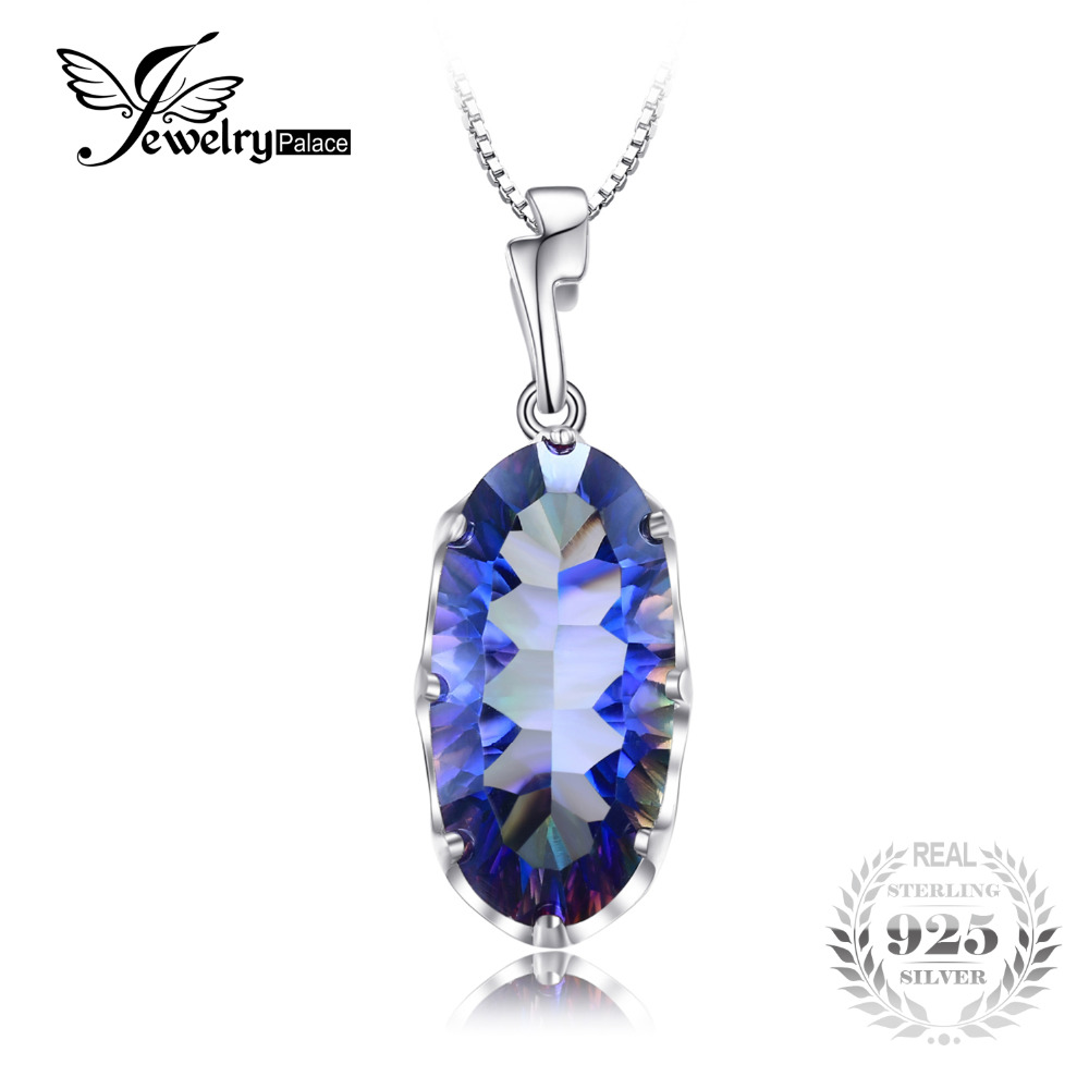 JewelryPalace 11 8ct Genuine Mystical Blue Rainbow Topaz Pendant Solid 925 Sterling Silver Fashion Brand Jewelry