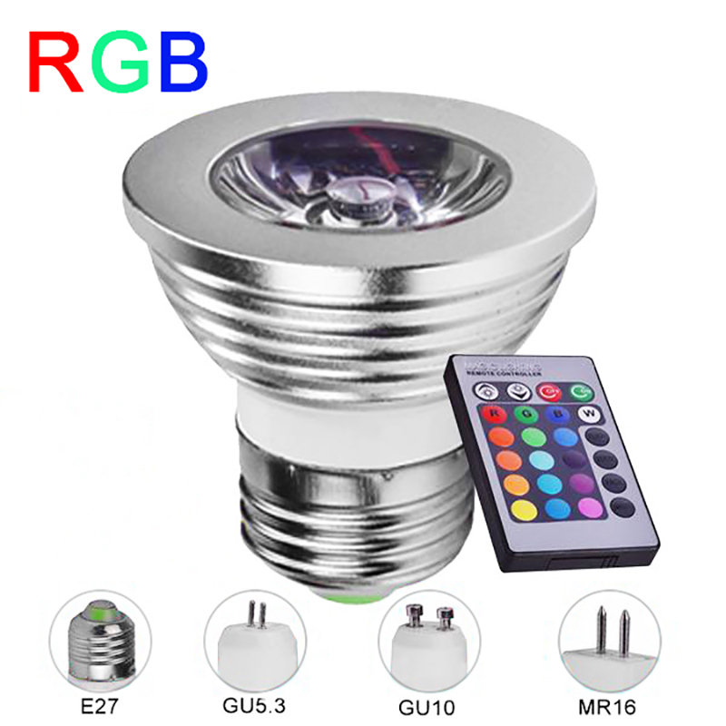 e27 rgb led lamp 4w mr16 gu10 gu5 3 led bulb 85 265v rgb spotlight high power 16 color ir remote. Black Bedroom Furniture Sets. Home Design Ideas