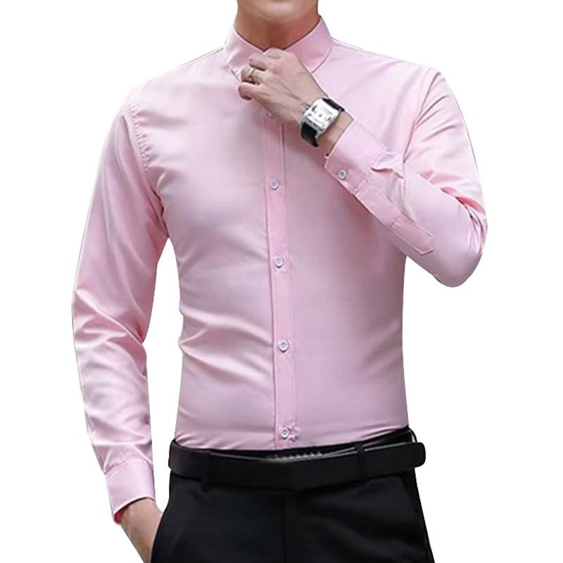 New Brand Men's Autumn  Long Sleeve Shirts Slim Fit Solid Turn-down Collar Tuxedo Shirt Business Formal Men Shirts Big Size 3XL