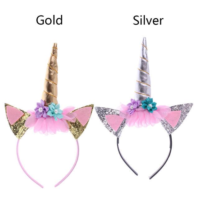 Online Shop 1 Pc Rainbow Unicorn Horn Hairband Kids Chiffon Unicorn