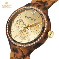 Kingsky reloj logo de la marca de moda diseño de la impresión del leopardo relojes para damas fresco de señora girl reloj de cuarzo reloj de pulsera montre femme
