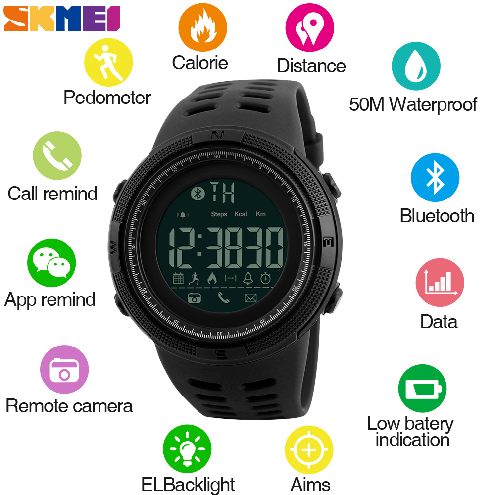 SKMEI Men font b Smart b font Watch Chrono Calories Pedometer Sports Watches Call Reminder Bluetooth