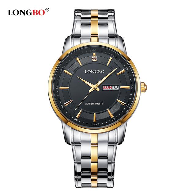 Mulheres Relógios de Marca de Luxo LONGBO relógio À Prova de Choque À Prova D' Água Movt Relógio de Quartzo de Ouro Homens relojes hombre marca famosa 80146