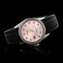 Wealthstar Лидирующий бренд Для женщин горный хрусталь циферблат часы люксовый бренд, модные повседневные силиконовый кварцевый ремешок Спортивные почты часы