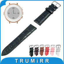 Real Leather-based Watch Band for Pebble Time Spherical 14mm Ladies Watchband Strap Wrist Belt Bracelet Black Brown Pink Pink White