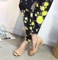 2016 Новая Мода Дизайнер Насосы Черный Загар Bukle Металла Насосы Толстый Высокий Каблук 6 см Женщины Новое Прибытие Обувь