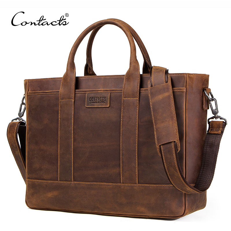 CONTACT S crazy horse leather men travel bag for 15 6 inch laptop large duffel handbag