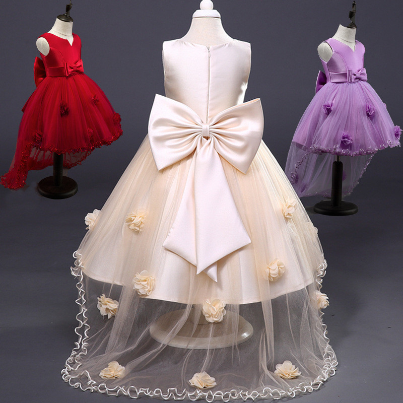 Summer Flower Bow Girl Dresses Chiffon Mesh Tailing Pageant Party Dresses Cloth Girl Sleeveless Weddings Tailing Dress 12 Years red new summer flower kids party dresses for weddings formal princess girl evening prom sleeveless girl bow mesh dress clothes