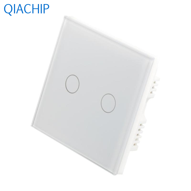 UK 2 Gang Wall Switch Interruptor Touch Button Switch White Tempered Crystal Glass Panel APP Remote Control Wall Light Switch smart home us au wall touch switch white crystal glass panel 1 gang 1 way power light wall touch switch used for led waterproof