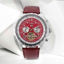 JARGAR Dress Watch Fashion Deep Red Bands Tourbillon Mechanical Wristwatches Men Best Gift