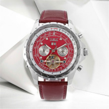 JARGAR Dress Watch Fashion Deep Red Bands Tourbillon Mechanical Wristwatches Men Best Gift