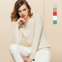 100 CASHMERE Women Solid PULLOVERS Sueter Luxury Basic Wool Cable Knit Sweater Top Pull Femme 2015