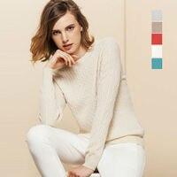 100% кашемир Женские однотонные пуловеры Sueter роскошный основной шерсти кабель вязаный свитер Топ тянуть роковой 2015 Осень Зима Новый