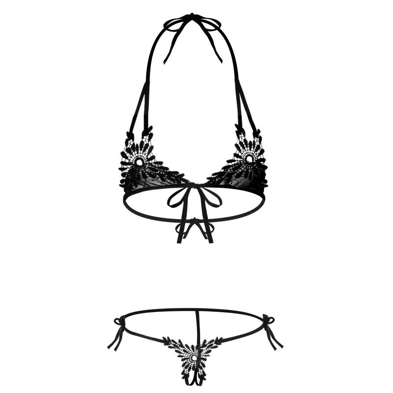 Women's Sexy Lace   Bra     Set   Open Crotch Transparent G-String Underwear   Set   Sexy Halter Embroidery Floral Lingerie Bikini   Bra     Brief