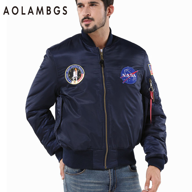 Aolamegs Men Bomber Flight Pilot Jacket Autumn Winter Coat Thick Warm Nasa Flying Jacket Military Air Force Embroidery Outwear