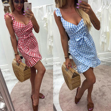 Summer Dress Women V-neck Sleeveless Spaghetti Strap Sundress Wrap Mini