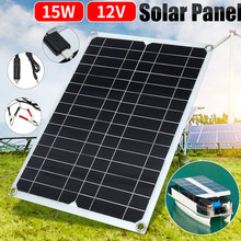Solar Panel Charger Energy Saving Durable 12V 15W Monocrystalline Silicon Outdoor Charger for Phone Tablet Vehicle