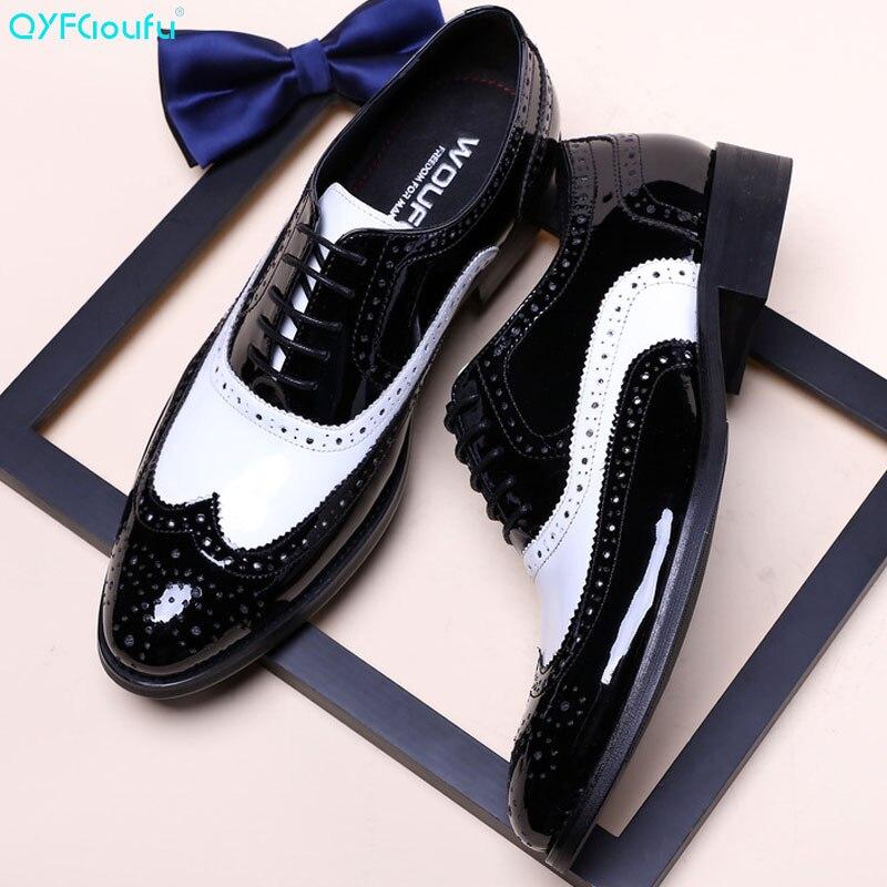 Masculinos de Luxo Clássicos em Couro Preto e Branco Formal para Casamento «sapatos Oxfords Calçados Legítimo 2020
