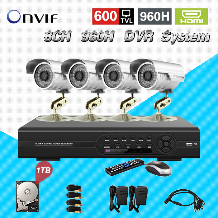 TEATE 8ch 960h cctv video surveillance security system with 4pcs outdoor camera dvr kit for monitoring 8 ch with HDD 1TB CK-119 zosi 1080p 8ch tvi dvr with 8x 1080p hd outdoor home security video surveillance camera system 2tb hard drive white